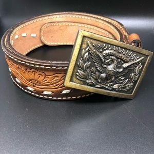 Leather tooled belt buckle eagle 36